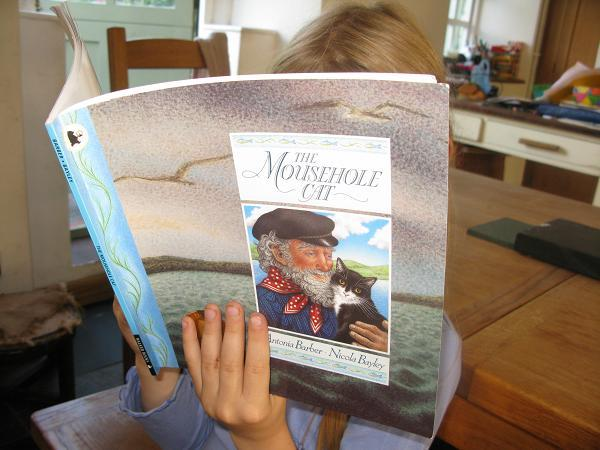 BL reading the Mousehole Cat book