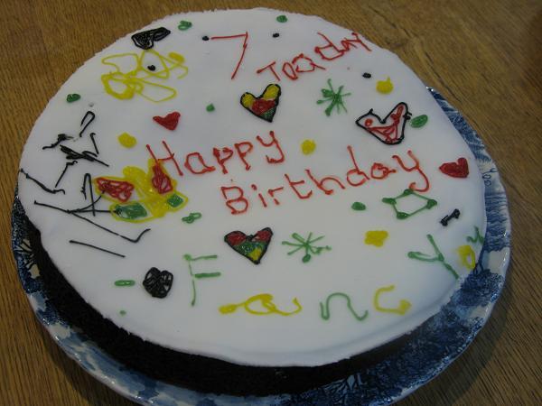 children decorated birthday cake