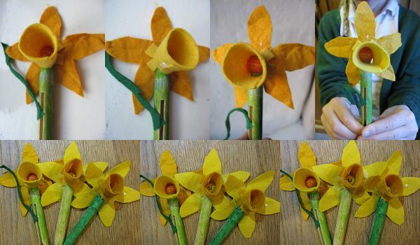 peg and felt daffodils