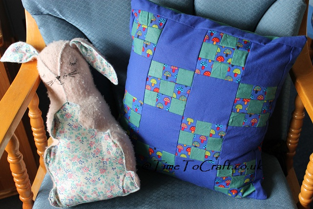 patchwork toadstool cushion front