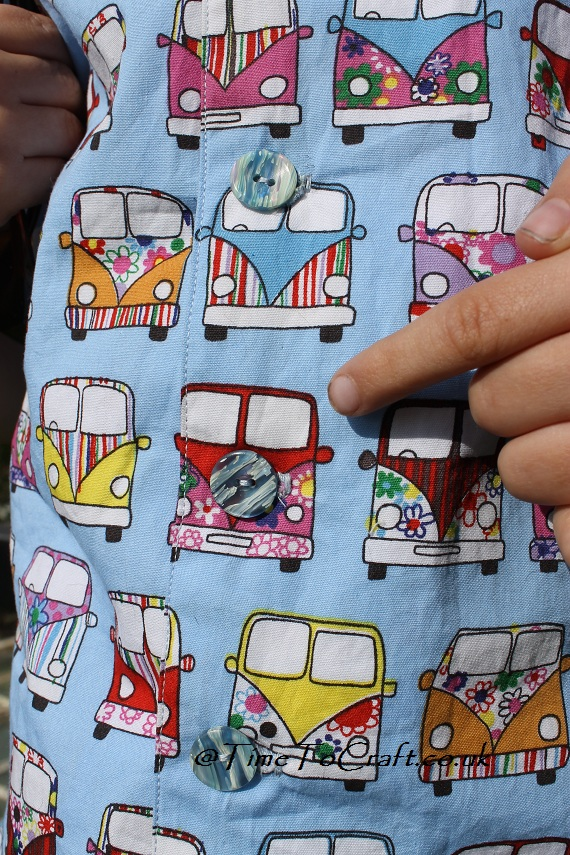 button on camper van shirt