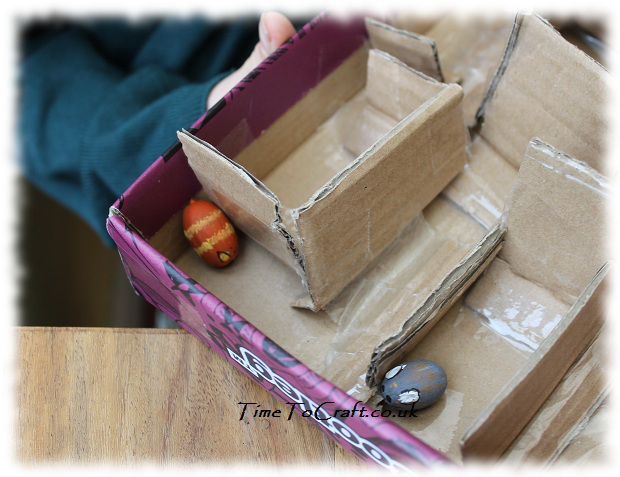 cat and mouse acorn cardboard maze craft 2