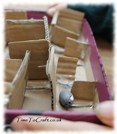 cat and mouse acorn cardboard maze craft