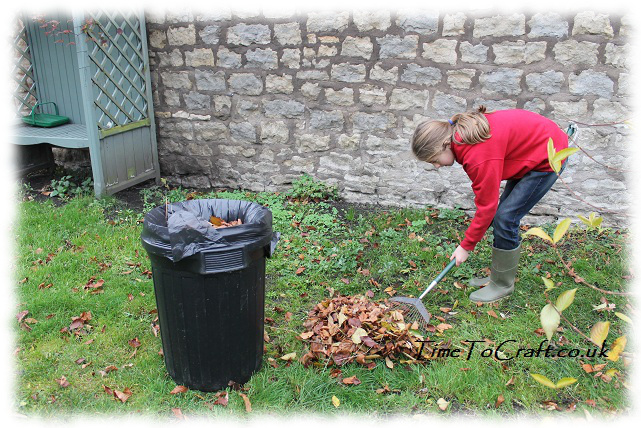 raking leaves grass