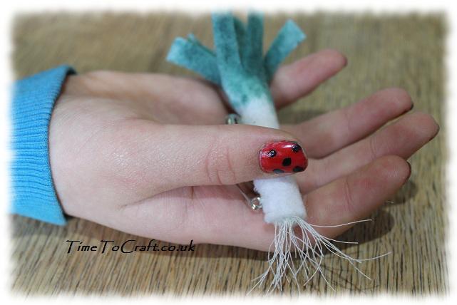 ladybird nails and felt leek