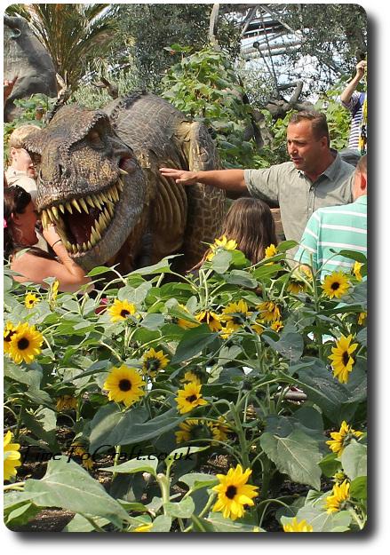 dinosaur and sunflowers