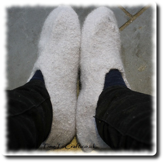 homemade felted slippers on feet 2a