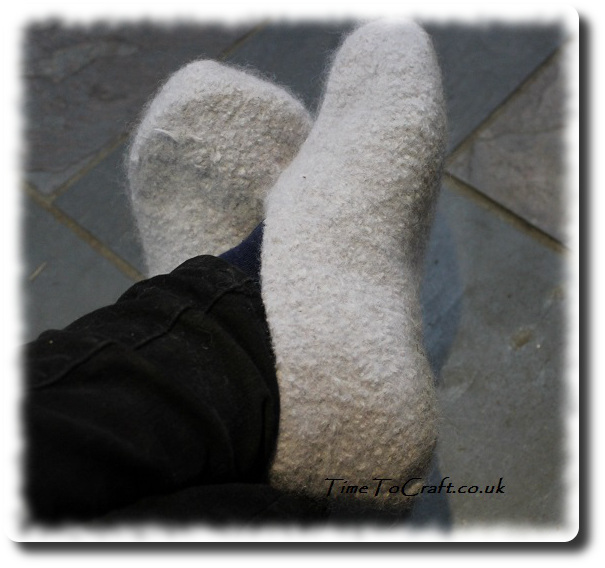 homemade felted slippers on feet g