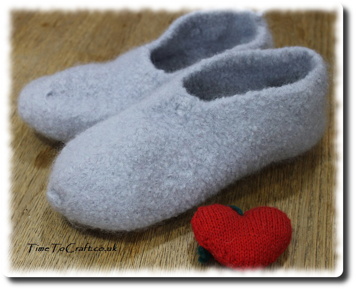 homemade felted slippers with heart a