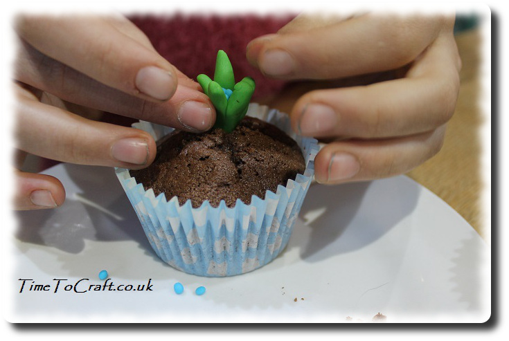 Adding flowers to sprouting cakes