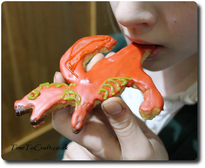 eating welsh dragon cookie