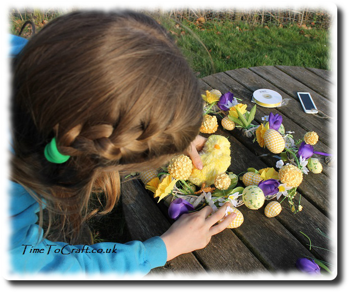 fixing chick on easter wreath