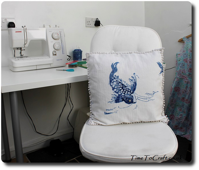 Ralph Lauren Koi fish cushion on chair
