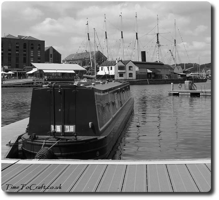 canal boat in front of SS Great Britain bw