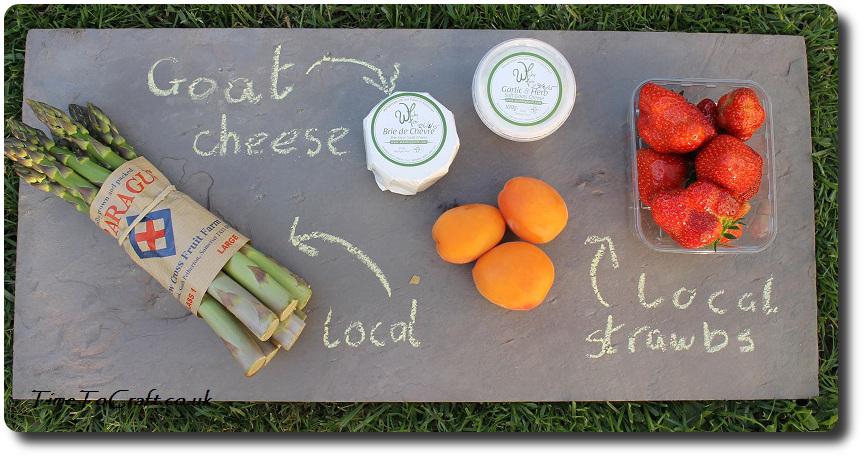 local food on a slate board