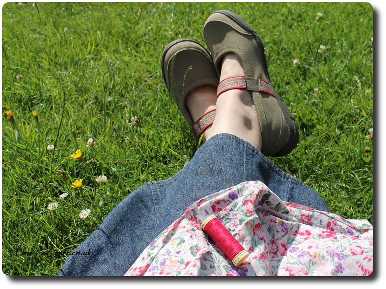 sewing in the meadow