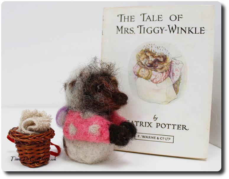 Needlefelted Mrs Tiggy Winkle and book