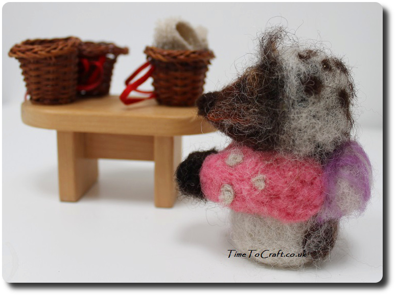 Needlefelted Mrs Tiggy Winkle at the table