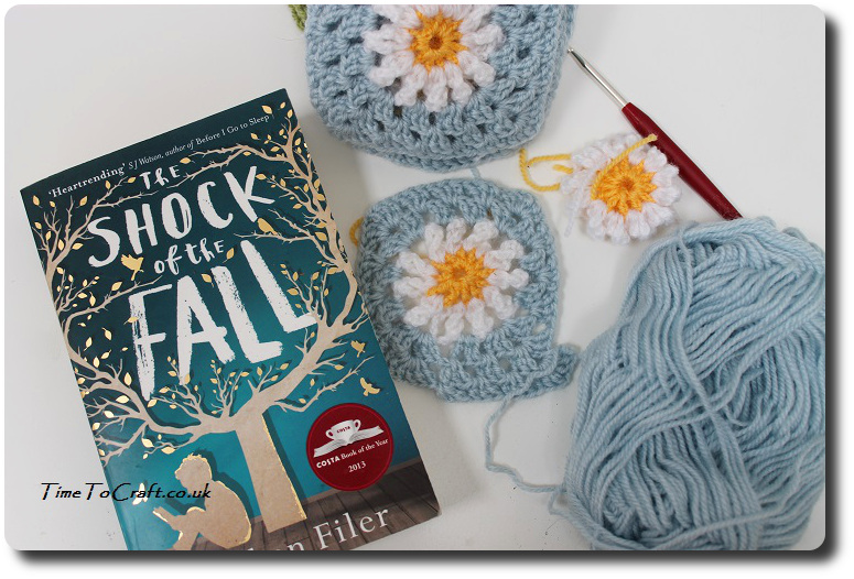 daisy crochet squares and book the shock of the fall