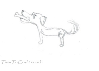 pencil drawing of standing dog