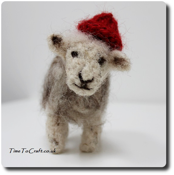 needle felted herdwick sheep Christmas red hat