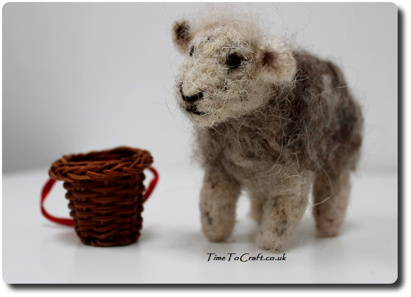 needle felted herdwick sheep with basket