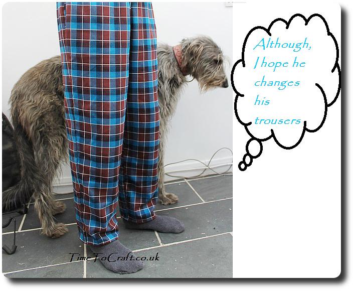 homemade men's pyjamas McCall's 4244 and dog 2