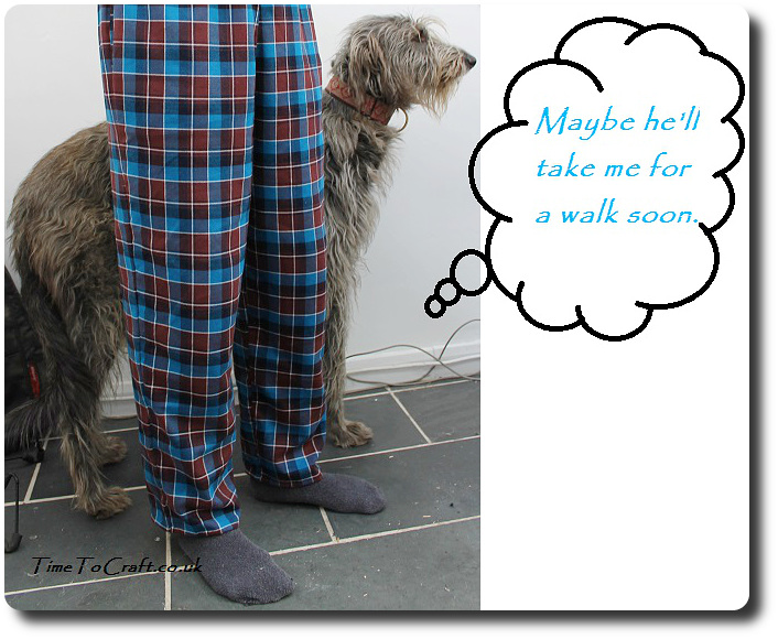 homemade men's pyjamas McCall's 4244 and dog