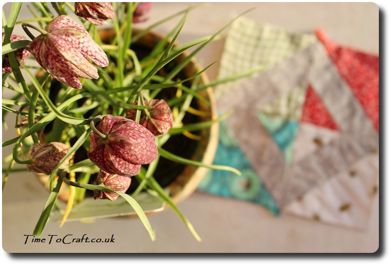 Friendship no 39 The Farmer's Wife quilt with snakes head fritillary