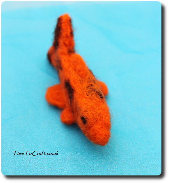 needlefelted Koi Carp orange and brown top