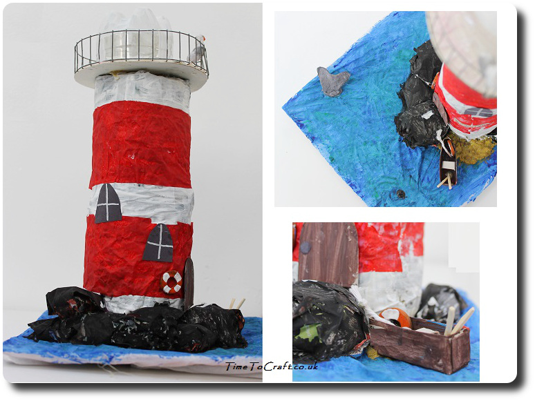 How to make a recycled lighthouse model for Craft model with waste material