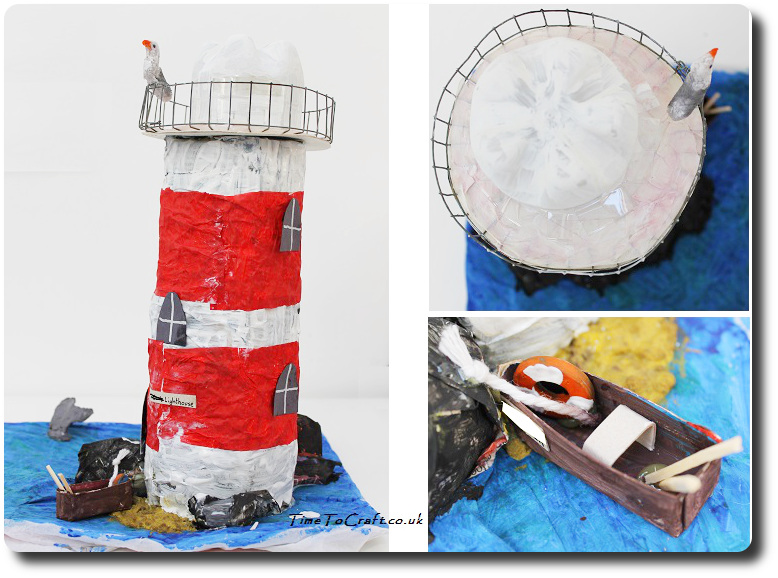 recycled materials lighthouse with detail