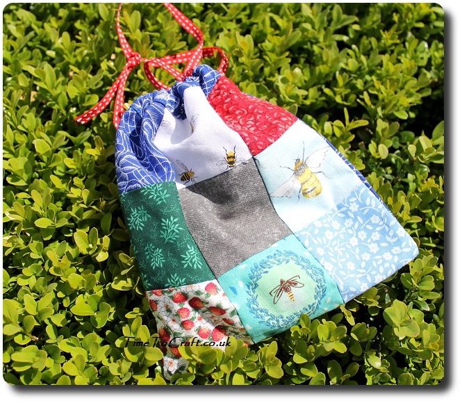 drawstring patchwork travel games bag