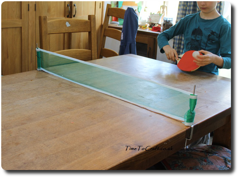 playing table tennis on the kitchen table