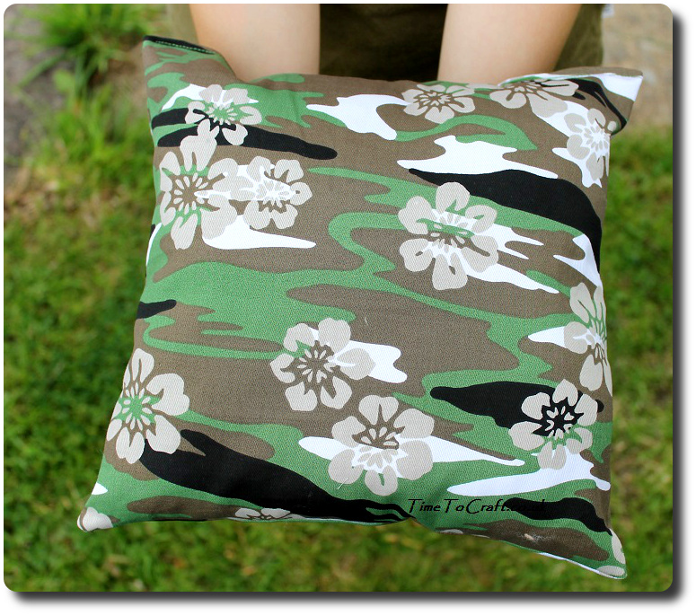 the boy's finished homemade cushion